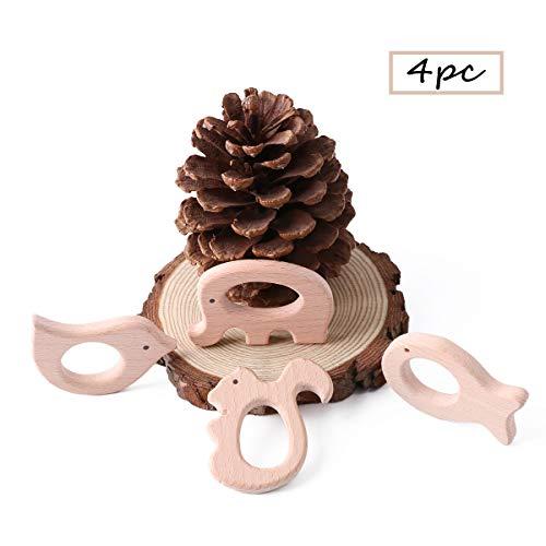 Best for baby 4PC Baby Teether Geschenk Montessori Spielzeug Holz Vogel Elefant Eichhörnchen Fisch Handgefertigt Anhänger -