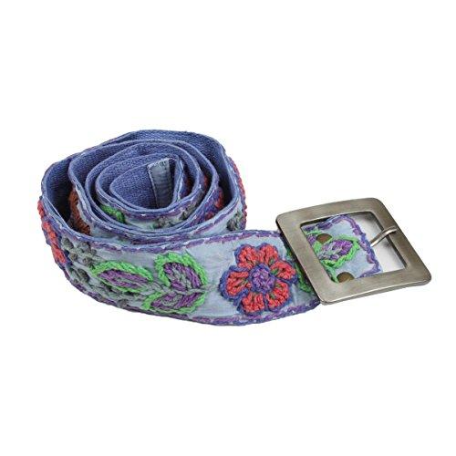bb Klostermann 90045 Damen Gürtel, 98-102 cm, Baumwolle, Unikat, Blumen, Ethno Style, Blau (Blumen-gürtel Gestickte)