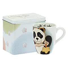 Idea Regalo - THUN - Tazza Mug Panda Libra con Scatola in Latta - Linea Oroscopo - Porcellana - 300 ml