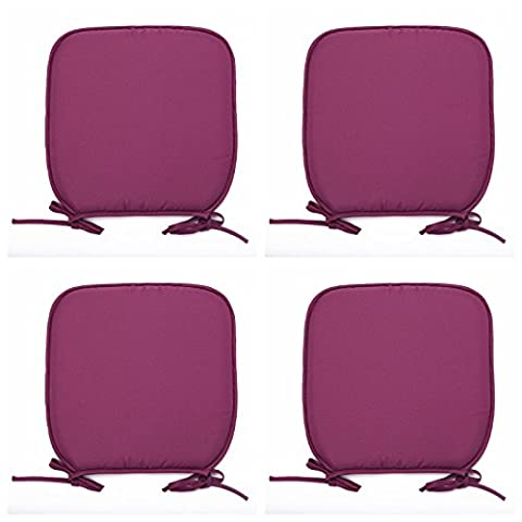 Luxury Garden, Dining Chair Foam Cushions Tie On Seat Pads in set of 2,4,6 or 8 (Pack of 6, Purple)
