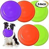 5 Hunde Frisbees, 22,5cm - Disc Flyer Hundespielzeug - Lebendige Farben - Aerodynamisches Design für Lange Mühelos Würfe - Langlebig & Ideal für Hundetraining, Werfen, Fangen & Spielen.