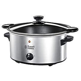 Russell Hobbs 22740-56 Slow Cooker Home Fornello elettrico lento, 3 regolazioni di temperatura, 3.5l, Acciaio inossidabile / Nero