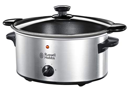 Russell Hobbs Slow Cooker, Schongarer, 3 Temperatureinstellungen, 3.5l, 160 Watt, Cook@Home Slowcooker 22740-56 Großes Utensil Crock