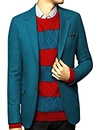 Keral Casual Slim Mens Solid Color Single Breasted Suit Cardigan