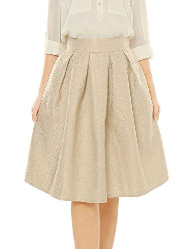 Allegra-K-Damen-hoch-Taille-Blumen-Glockenrock-Freizeit-Voll-Kleid-A-Linie-Skirt
