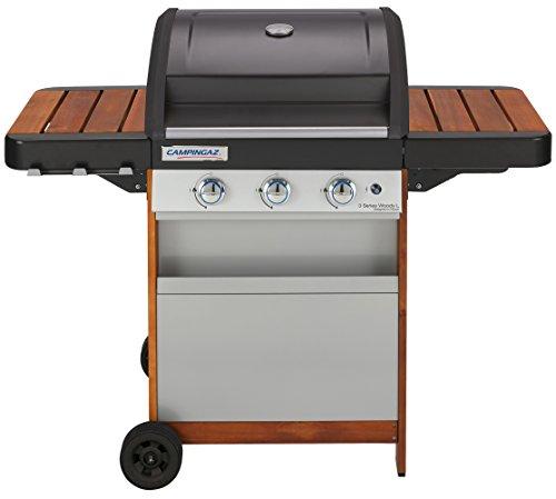 Campingaz BBQ a Gas, 3 Series Woody L, Barbecue Grill a 3 Bruciatori, 9.6 kW di Potenza, Sistema di Pulizia InstaClean, Griglia e Piastra in Acciaio Smaltato, Carrello in Legno