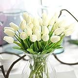 10pz Fiori Artificiali Bouquet Festa Matrimonio Arredo Casa Finto Tulipano Decorazione (Bianco) - Bianco, free size