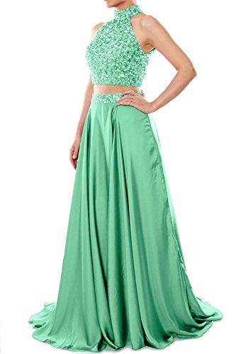 MACloth Women Two Piece Prom Dress High Neck Chiffon Long Formal Evening Gown Menthe