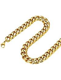 FOCALOOK Chaîne Cubaine Homme 3 6 9 12mm Collier Bijoux en Acier Inoxydable  316l Plaqué Or 18 Carats Chain Noire Cadeau Parfait… 3078d3ac5f33