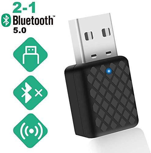 TouchSKY USB Bluetooth Adapter,Bluetooth 5.0 USB Audioadapter Wireless 2 in 1 Transmitter und Empfänger Bluetooth Dongle HiFi-Audio-Adapter mit 3,5-mm-Digital-Audiokabel für PC/Kopfhörer/TV/Auto/Heim