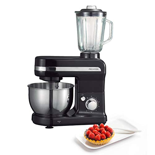 PRIXTON - Robot patissier professionnel multifonction/ Robot patisserie de cuisine avec mélangeur à verre intégré, bol en acier de 4L et 3 accessoires à lait frappé inclus, Couleur Noir | KR110B