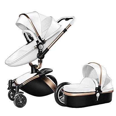Hohe Landschaft Kinderwagen Leder Zwei-Wege-Auto 360-Grad-Falten-Stoßdämpfer Kann Sitzen Baby Auto (2 In 1: Sitz + Schlafkorb)