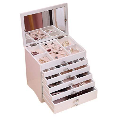 Monili box storage gioielli orecchini organizer 6 strati 5 cassetti bianco con specchio
