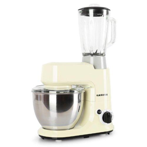 Klarstein Carina Morena Set Universal-Küchenmaschine Rührmaschine mit Smoothie-Maker Mixkrug-Aufsatz (1,5L Glaskrug-Aufsatz, 4 Liter Edelstahl-Rührschüssel, 6 Geschwindigkeiten) creme