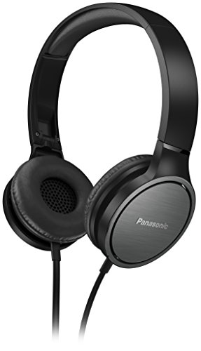 Panasonic - Auricolari on ear, RP-HF500ME-K (9-25000Hz, invertitore 40mm, Padiglioni con superficie in alluminio, testina imbottita regolabile)