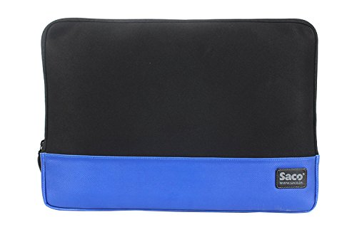 Saco laptop sleeve slim sleek checkpoint friendly Zipper Water-resistant shock proof protective case for men and women notebook bag non neoprene EVA for Apple MacBook Pro MF840HN/A 13-inch Laptop- Blue  available at amazon for Rs.499