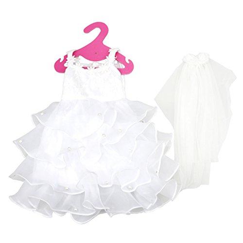 Fenteer Elegante Weiß Hochzeitskleid Brautkleid Kleid mit Schleier Bekleidung für 18 Zoll American Girl Puppe (18 Hochzeit Zoll Für Kleid Puppen)