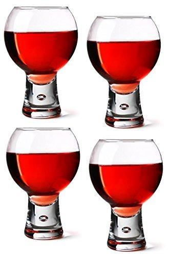 DUROBOR Durobor Lot de 4 verres à vin rouge, Verres à courte Potence Base à bulle 30 cl 330 ml