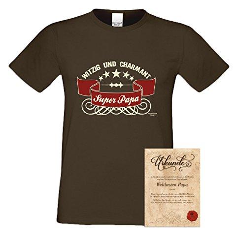 Geschenk-Set :: Super - Papa Herren T-Shirt inkl. Urkunde : Geschenkidee als Geburtstagsgeschenk Weihnachtsgeschenk Vatertagsgeschenk Farbe: braun Braun