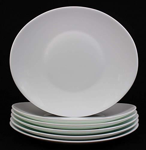 Fitting Gifts Bistro Collection Grandes Assiettes Plates Prometeo de Forme Ovale, Blanc Brillant (6 Pièces)