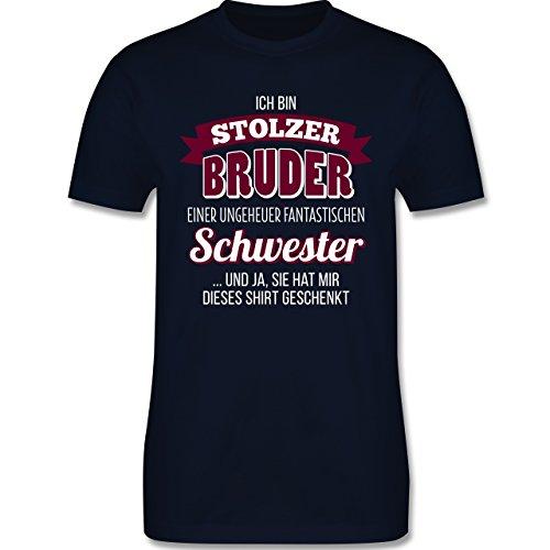 Bruder & Onkel – Ich Bin stolzer Bruder – XL – Navy Blau – L190 – Herren T-Shirt Rundhals
