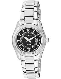 Citizen FE1010-57E - Reloj analógico de cuarzo para mujer, correa de acero inoxidable color plateado (solar)