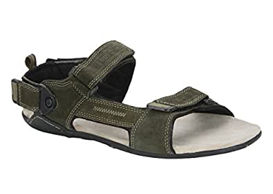 Woodland Men's Olive Green Leather Sandals and Floaters - 7 UK/India (41 EU)