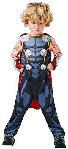 Kostüm Captain America Avengers Assemble - Halloweenia - Jungen Kinder Thor Kostüm der Avengers Assemble mit Einteiler Overall und Umhang, perfekt für Karneval, Fasching und Fastnacht, 92-98, Grau