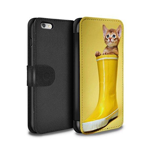 Stuff4 Coque/Etui/Housse Cuir PU Case/Cover pour Apple iPhone 4/4S / High five Design / Chatons mignons Collection Botte en caoutchouc
