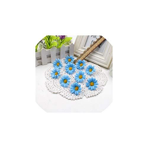 tliche Blumen 50pcs Klein Silk Sonnenblume-Kopf-Hochzeit Dekoration, Blau ()