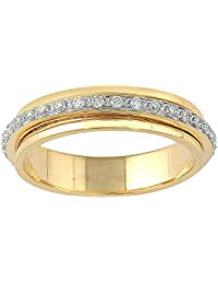 Lolls 14K Yellow Gold Over 925 Sterling Silver 0.70 CT Round Cut Cubic Zirconia Eternity Engagement Band Ring...
