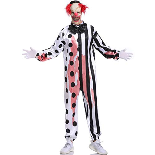 Adult Kostüm Clown Deluxe Pennywise - HJG Scary Killer Clown Kostüm mit Latex Maske Mask Adult Deluxe Set für Halloween Dress Up Party, Rollenspiele und Karneval Cosplay,XL