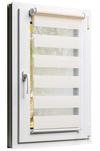 Fensterrollo Doppelrollo Duorollo Sonnenschutz Sichtschutz mit Kettenzug und Klemmfix in CREME, mit komplettem Zubehör und weissen Leisten, 90cm x 150cm (Raffrollos Zubehör)