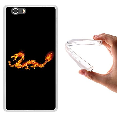 Elephone M2 Hülle, WoowCase Handyhülle Silikon für [ Elephone M2 ] Abstrakterfeuerdragon 2 Handytasche Handy Cover Case Schutzhülle Flexible TPU - Transparent