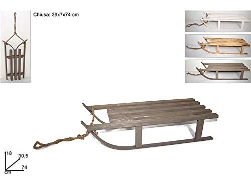 Vetrineinrete® slitta da neve richiudibile slittino in legno pieghevole con corda di traino inclusa personalizzabile con decoupage pittura 74x30,5x18 cm 36964