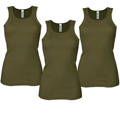 3 PACK Damen Weste cami ärmelloses Top T-Shirt Grundschicht Rib-Stretch Tank-Top Sport Gym Gr. 42, grün (Basic Rib Tank Shirt Top)