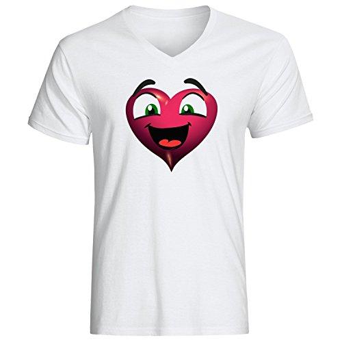Funny love heart cartoon logo cute Herren baumvolle V-neck t-shirt Weiß