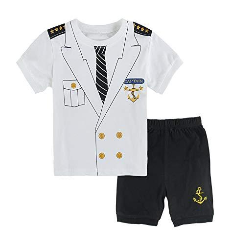 Mombebe Baby Jungen Kapitän Kostüm Kleidung Shirt Sets (12-18 Monate, Kapitän) (12 18 Monats-halloween-kostüme)