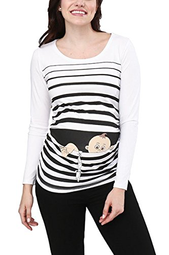 Baby First Tee T-shirt (Baby Flucht - Lustige witzige süße Umstandsmode / Umstandsshirt mit Motiv für die Schwangerschaft / Schwangerschaftsshirt, Langarm (Weiß, Small))