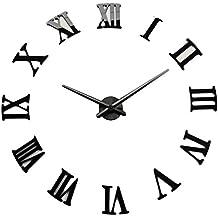 DIY - Reloj de pared 3D con números romanos de metal para decoración del hogar DIY