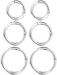 6 Pieces 16 Gauge Stainless Steel Nose Ring Hoop Seamless Clicker Ring Ear Lip Piercing Jewelry, 3 Sizes (Silver)