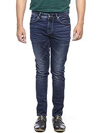 Spykar Mens Mid Blue Super Skinny Fit Low Rise Jeans - B06VVLQ1GQ