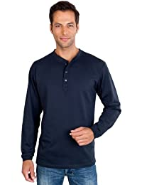 QUALITYSHIRTS Langarm Serafino Shirt mit Knopfleiste Gr. S - 6XL Baumwolle