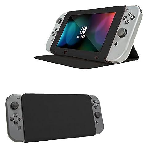 Orzly Cover & Stand, NOIR Housse Multi-Fonctions pour Nintendo Switch avec Support Intégré 3-Angle et Couvercle de Protection pour protéger l'écran de la Nintendo Switch Console