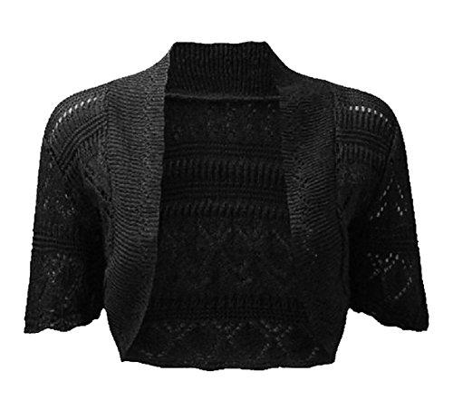 Nuovo donna Bolero Coprispalle Cardigan a maglia Crochet Top Taglia 8–14 Black
