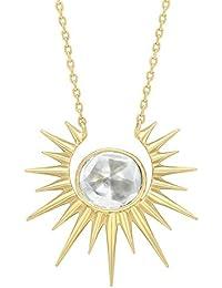 Celine d'Aoust Women's 14 k (585) Yellow Gold Round Diamond Slice Full Sun Necklace