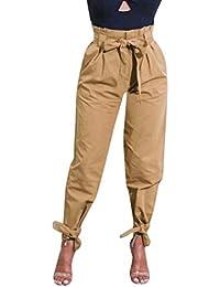 LuckyGirls Pantalones Mujer Verano Originals Color Puro Cintura Alta Casual  Moda Pantalón Suelto Leggings Correa de 3848e7b6d815