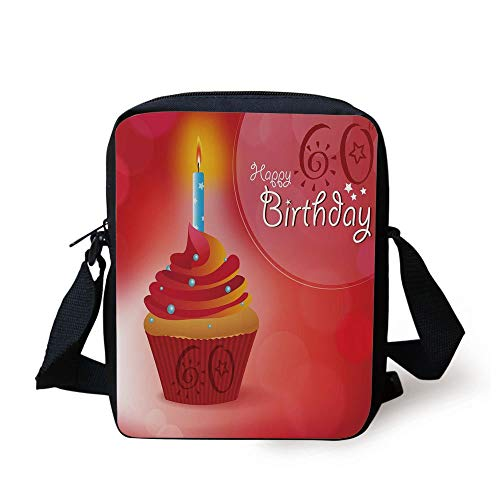 CBBBB 60th Birthday Decorations,Abstract Sun Beams Backdrop Party Cupcake with Frosting,Ruby Red and Orange Print Kids Crossbody Messenger Bag Purse