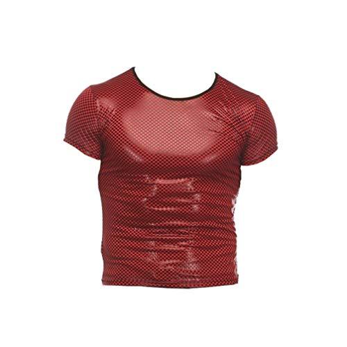 Milisten Camiseta Sexy de Charol para Hombre Trajes de Escenario de Club de Cuero Metálico Camisa...