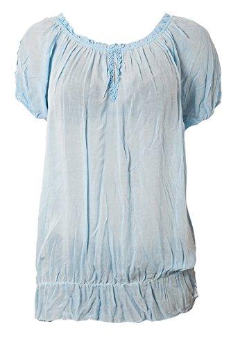 Dinal tunique à manches ballon avec froufrous Beige - Bleu clair
